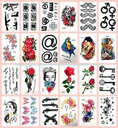 24 Sheets Playing Cards Stars Rose Temporary Tattoo Wholesale Tattos