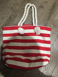Nwt  Old Navy Canvas Tote Book Beach Bag Red Striped Vacation 4th Of July