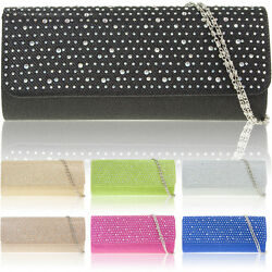 New Diamante Glitter Women Clutch Bridal Designer Ladies Evening Prom Party Bag