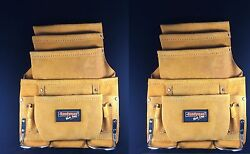 2-pack 10 Pocket Carpenter Electrician Nail And Tool Bag Belt Leather Yellow