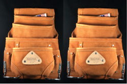10 Pocket Leather Carpenter Electrician Nail And Tool Bag Pouch Waist Belt 2 Pack