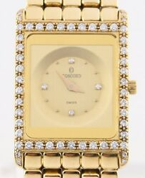 Concord Delirium Quartz w/ Diamond Dial & Bezel 18k Yellow Gold Watch