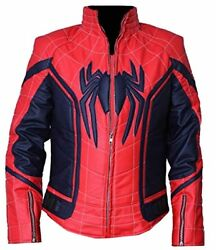 Bestzo Menand039s Fashion Spiderman New Homecoming Leather Jacket Red/blue Xs-5xl