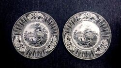 1 Antique Wedgwood China Black Transferware Cairo Pattern 9 Plate Sold Each