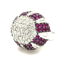 6.70 ct Diamond and Ruby Pave Dome Ring in 18k White Gold - HM348SI