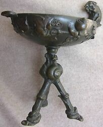 Auguste Nicholas Cain Signed Antique French Bronze Tazza W/ Rat Snakes Etc. Rare