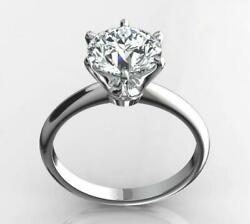 1.25 Ct Round Cut Diamond F Si1 Solitaire Ring 14 K White Gold Ds-r-11-156