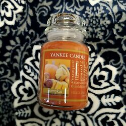 YANKEE Jar Candle PUMPKIN Large 22 oz Jar Scent Long Burning Single Wick