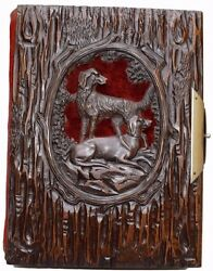 French Antique Black Forest Hand Carved Dog Cover Photograph Album Book