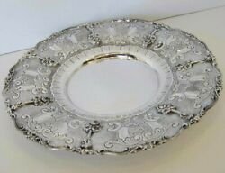 Fine 925 Sterling Silver Hand Chased Floral Ornate Border Plate Tray Ec-149-p-25
