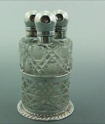 Trio Of Antique Silver And Glass Perfume Bottles And Silver Stand 1904