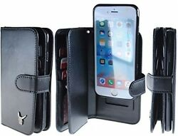 For IPhone 6 (4.7) Case[Black] Luxury [Dual Wallet] [Wristlet] Cow Leather