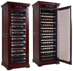 THE Rochester Wine Cabinet with Dark Cherry Wood Finish & Climate Control
