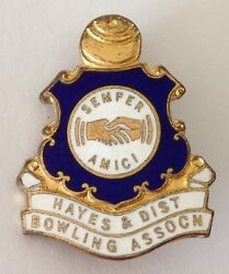 Hayes And District Bowling Club Badge Pin Semper Amici Rare Vintage M17