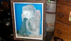 Vintage Rare Picasso 1904 Print Woman With A Crow Framed Art Picture