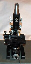 Spencer By Ao American Optical Lab Microscope W/ 3 Objectives And Illuminator