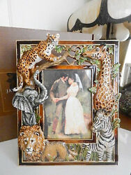 Jay Strongwater Jungle Scene 5 X 7 Picture Frame Crystals - New / Box