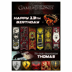 G018 Large Personalised Birthday Card Printed With Your Text Game Of Thrones