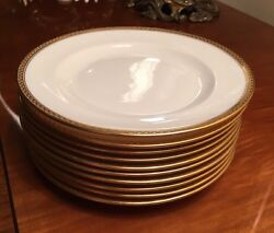 10 Antique Vintage Lenox Green Mark 6 1/4 Ivory And Gold Fine China Plates M-8