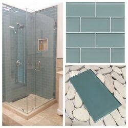3x6 Sea Blue Crystal Glass Subway Tile For Kitchen Bathroom Shower Spa Wall