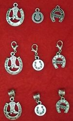 Antique Silver Horseshoe Charm - Boot - Country - 4h - Good Luck - Colts