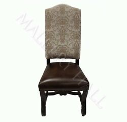 Leather Seat Gold Silver Tapestry Jacquard Fabic Back Tuscan Dining Side Chair