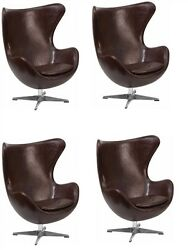 X4 Brown Leather Egg Executive Chair With Tilt Lock