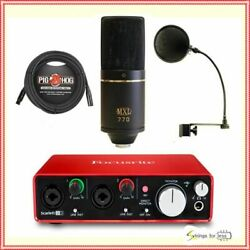 Focusrite 2i2 Gen 2 Recording Bundle with MXL 770 Mic and Pop Filter and Cable
