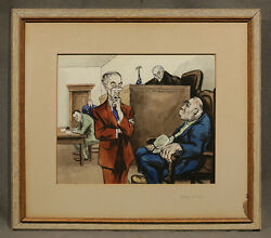 Aaron Sopher American 1905-1972 Signed Watercolor Battle Of Witts