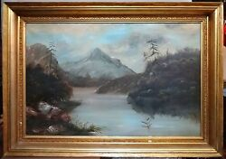 Huge 53 L And Impressive Antique Painting With Gilt Frame