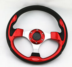 Universal 320mm Jdm 6 Bolt 5125 Red Aluminum Racing Steering Wheel And Horn Button