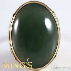 Ming's Hawaii Green Jade 14k Yellow Gold Ring Size 6.5 Signed Authentic
