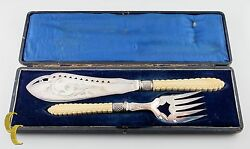 Vintage Fish Knife And Fork Serving Set Silver Plated W/ Tan Handles