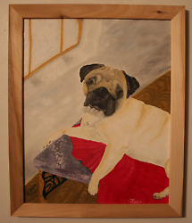 Signed Original Oil Painting of Pug
