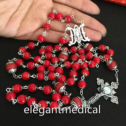 Coral Beads Vatican Catholic Rosary Necklace Sterling Silver Cross