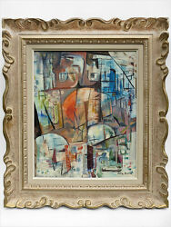 1970 Signed Julia Bureau Abstract Expressionism Oil Painting Post-war Eames Era