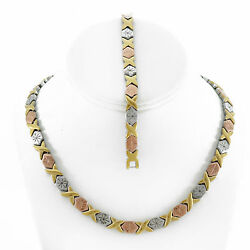 Hugs And Kisses Necklace Bracelet Set Stampato Stainless Steel Three Tone 18/20and039and039