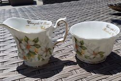 Elizabethan Fine Bone China Dogwood - Campbell River Bc Creamer And Tea Cup Pair