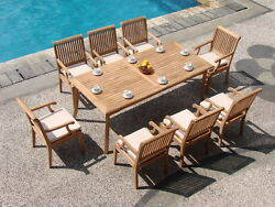 Dssk Grade-a Teak Wood 9pc Dining 83 Rectangle Table 8 Arm Chair Set Outdoor