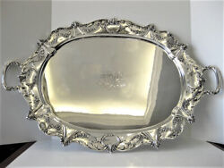 ANTIQUE 925 STERLING SILVER HANDCRAFTED ORNATE FLORAL MONOGRAMMED TRAY AN-6110