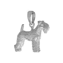 925 Sterling Silver Dog Charm Pendant  3D Kerry Blue Terrier  Textured