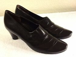 Paul Green Munchen Womenand039s Brown Leather Slip On Heels Size 6 Or Us 6.5 Nice
