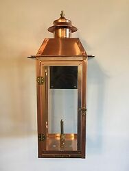 Copper Gas Lantern With Thick Steel Bracket. Powder-coated Black- Size In Pic
