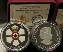 1967-2017 Canadian Honours 50th Anniv. Order Of Canada 20 1oz Pure Silver Coin