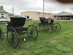2 Horse Drawn Carriages, Currier And Ives Style, Circa 1880s-1890s No.jersey