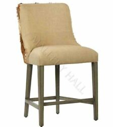 Brown and White Goat Hide Fur Linen Stool Counter or Bar Nailhead Trim Barstool