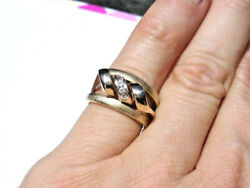 Solid 14k Yellow Gold And Diamonds Ring - Unique Roller Coaster Twister Design