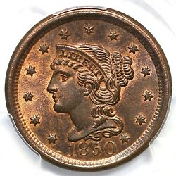 1850 N-1 R-2 Pcgs Ms 65 Rb Cc Level Braided Hair Large Cent Coin 1c