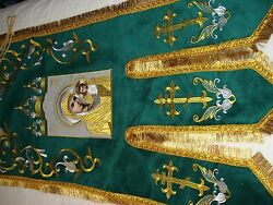Orthodox beautiful embroidered green pair banner with both side icons. New Price