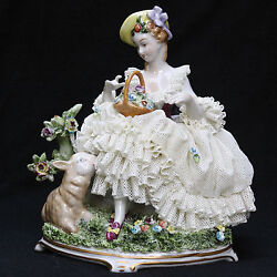 Unterweissbach Germany Dresden Lace Lady With Lamb Porcelain Figurine 8321-1 11